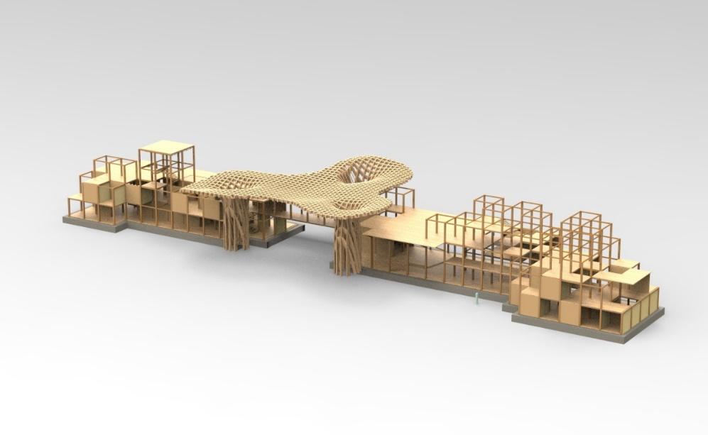 结构选用胶合木梁柱框架结构与正交胶合木围合结构虚实结合;主体标志